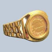 Estate 14K Pisces Signet Ring