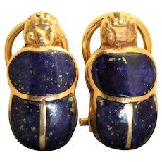 Estate 14K Lapis Scarab Omega Earrings