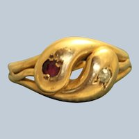 Early 20th Century 18CT Ruby and Diamond Snake Ring