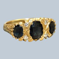 Estate 18CT Three Stone Sapphire and Diamond Ring