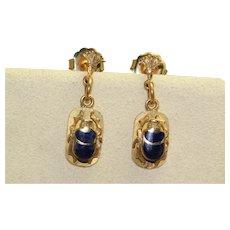 Estate 18K Lapis Lazuli  Scarab Dangle Earrings