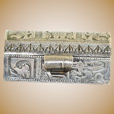 Vintage 900 Silver Box from Peru with Inca Detail