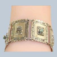 900 Silver Chrystoprase Aztec Bracelet