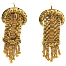 Estate 14K Etruscan Revival Buckle Earrings