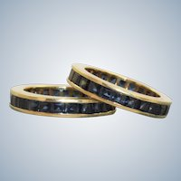 Estate 14K 3.31 CTW French Cut Natural Sapphire Eternity Bands or Guards