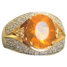 Estate 14K  6 CT Fire Opal and Diamond Ring