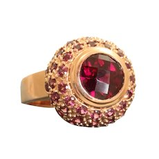 Estate 14K Rose Gold Rhodolite Garnet Dome Ring