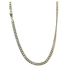 """Estate 24"""" Sterling Silver Curb Link Chain Necklace"""
