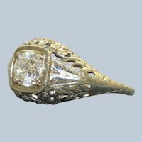 Estate 18KW 0.60 CT Diamond Filigree Ring