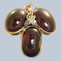 Victorian 3 Garnet Carbuncle and Rose Cut Diamond Pendant