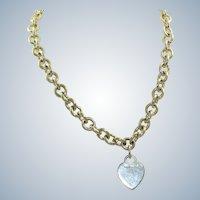 Massive Estate Tiffany Sterling Heart Necklace