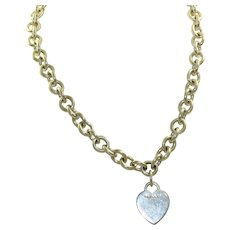 Massive Estate Tiffany Sterling Heart Necklace
