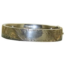 Vintage Sterling Etched Bracelet with Cartuche