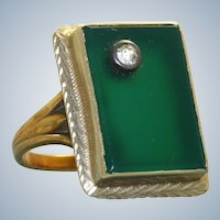 Vintage 14K Chrystoprase and Diamond Ring