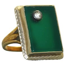 Vintage 14K Chrystoprase and Diamond Ring