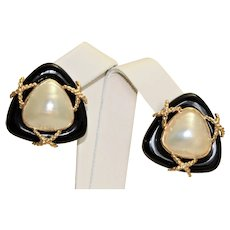 Estate 14K Onyx Mabe Pearl Omega Earrings