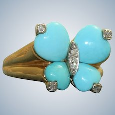 Estate 14K Turquoise Diamond Butterfly Ring