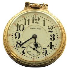 Hamilton 21J Rail Road Gold Filled Pocket Watch - 1953