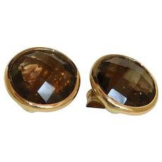 Estate 14K 3 CTW Smokey Quartz Stud Earrings