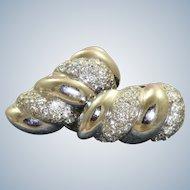 18KW Diamond Shrimp Huggie Earrings