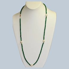 """Estate 28"""" Faceted Emeralds and Fresh Water Pearl Necklace"""