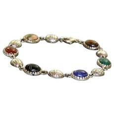 Estate Sterling Scarab Bracelet with Semi-Precious Stones