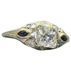 Estate Edwardian Platinum 0.79 CT Old European Cut Diamond and Sapphire Ring