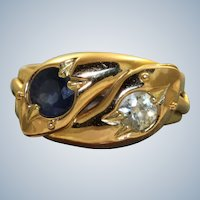 English 1907 18K Diamond and Sapphire Snake Ring