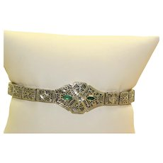 Estate 14KW Filigree Emerald and Diamond Bracelet