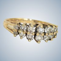 Estate 14K 0.50 CTW Pyramid Diamond Ring