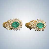 Estate 14K Emerald and Diamond Earrings
