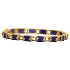 Estate 14K 8 CTW Lapis Etruscan Revival Bracelet