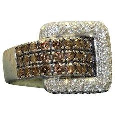 Estate 14KW 2.14 CTW Levian Chocolate Diamond Buckle Ring