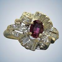 14KW Retro Ruby and Diamond Ballerina Ring