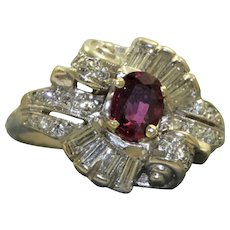 14KW Retro Ruby and Diamond Ballerina Ring