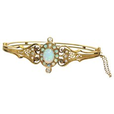 Etruscan Revival 14K Goldschmidt Opal and Diamond Bangle