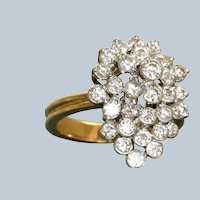 Estate 18K Diamond Cluster Dinner Ring