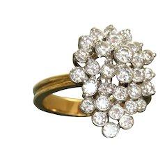 Estate 18K Diamond Cluster Dinner Ring