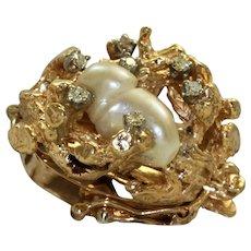 Estate 1960's 14K Baroque Pearl and Diamond Clasp