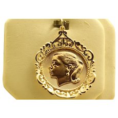 Estate 1950's 14K Gold Girl Charm/Pendant