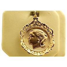 Estate 1950's 14K Gold Girl Charm/Pendant