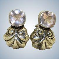 Estate Sterling Pink Crystal Omega Earrings