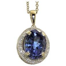 Estate 14KW 9.31 CT Tanzanite and Diamond Pendant