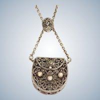 Estate Sterling Silver and Pink Crystal Slide Purse Necklace