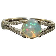 Estate 18KW 1.25 CT Opal and Diamond Ring