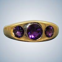 Estate 14K Gypsy Amethyst 3 Stone Ring