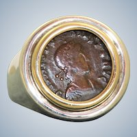 Estate 14K/Sterling Old Roman Coin Ring
