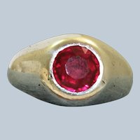 Estate Sterling Belcher 2 CT Synthetic Sapphire Ring