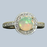 Estate 18KW 1.04 CT Opal Diamond Halo Ring