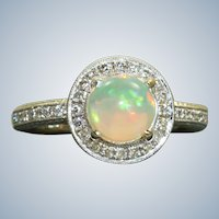 Estate 18KW 1.04 CT Opal Diamond Halo Ring